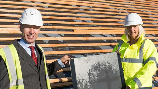 Councillor Ben Stokes And Lorraine Jenner From Housing 21 At Topping Out